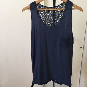 3/25 Suzy Shier sheer blue cotton lace back top